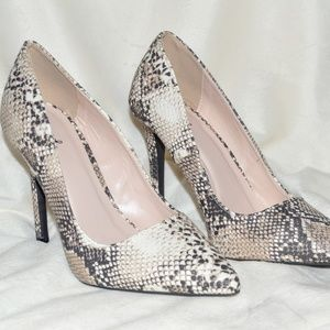 Beige & Brown Snake Print Pumps